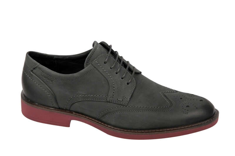 Details zu Ecco Biarritz Herren Schuhe dunkelgrau mit roter Laufsohle ...