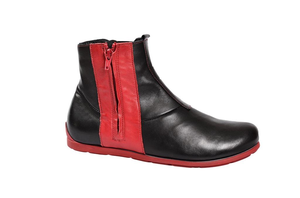 think schuhe eggal damen stiefelette in schwarz rot 1 81066 09 neu ebay. Black Bedroom Furniture Sets. Home Design Ideas