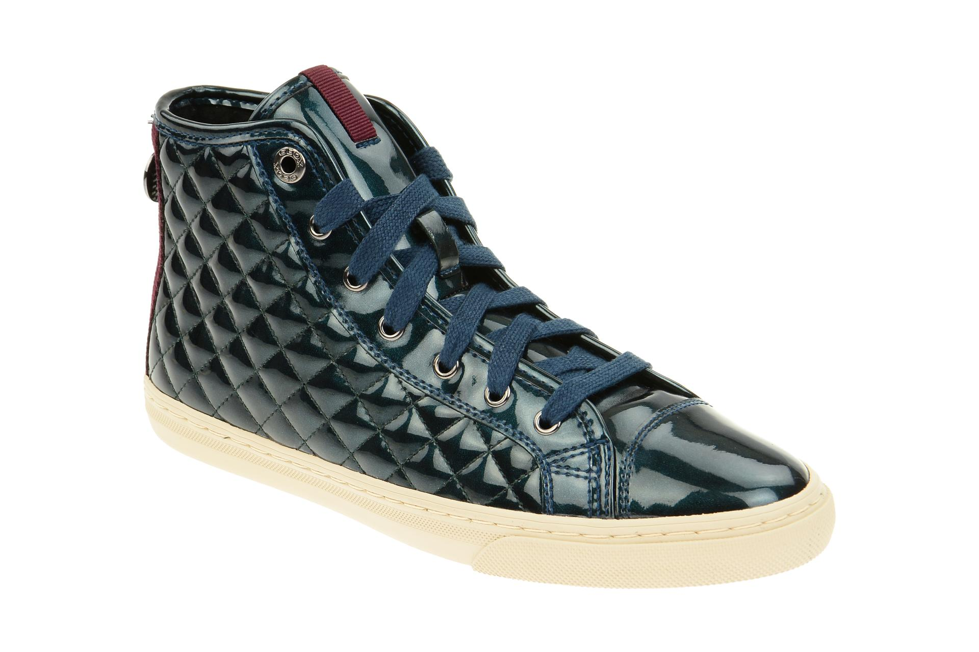 geox stiefelette new club damen sneakers blau metallic lack neu ebay. Black Bedroom Furniture Sets. Home Design Ideas
