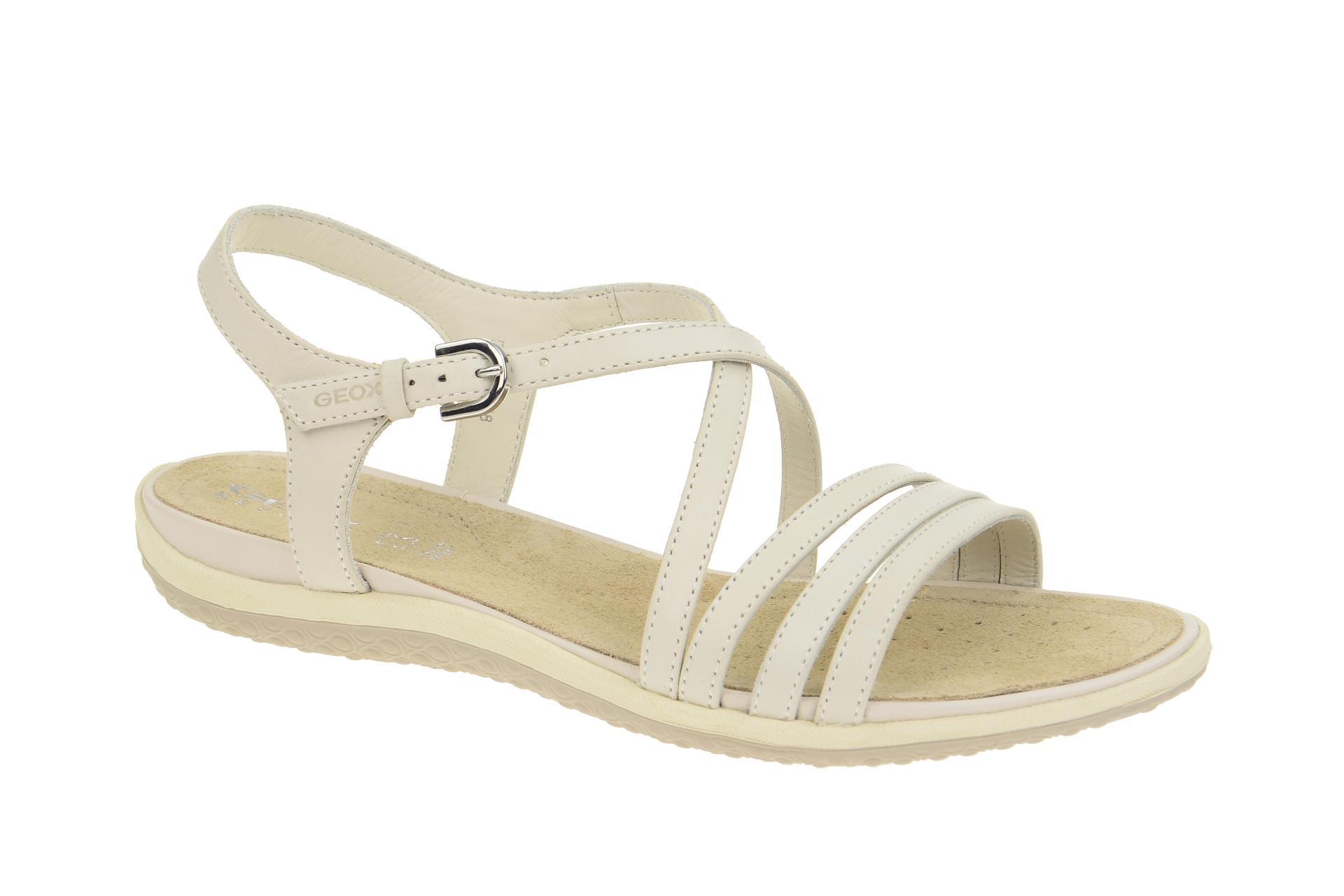 dff5c3723b0f44 Geox Schuhe SAND.VEGA weiß Damen Sandalette Riemchen Sandalen D62R6C 000CL  C1002