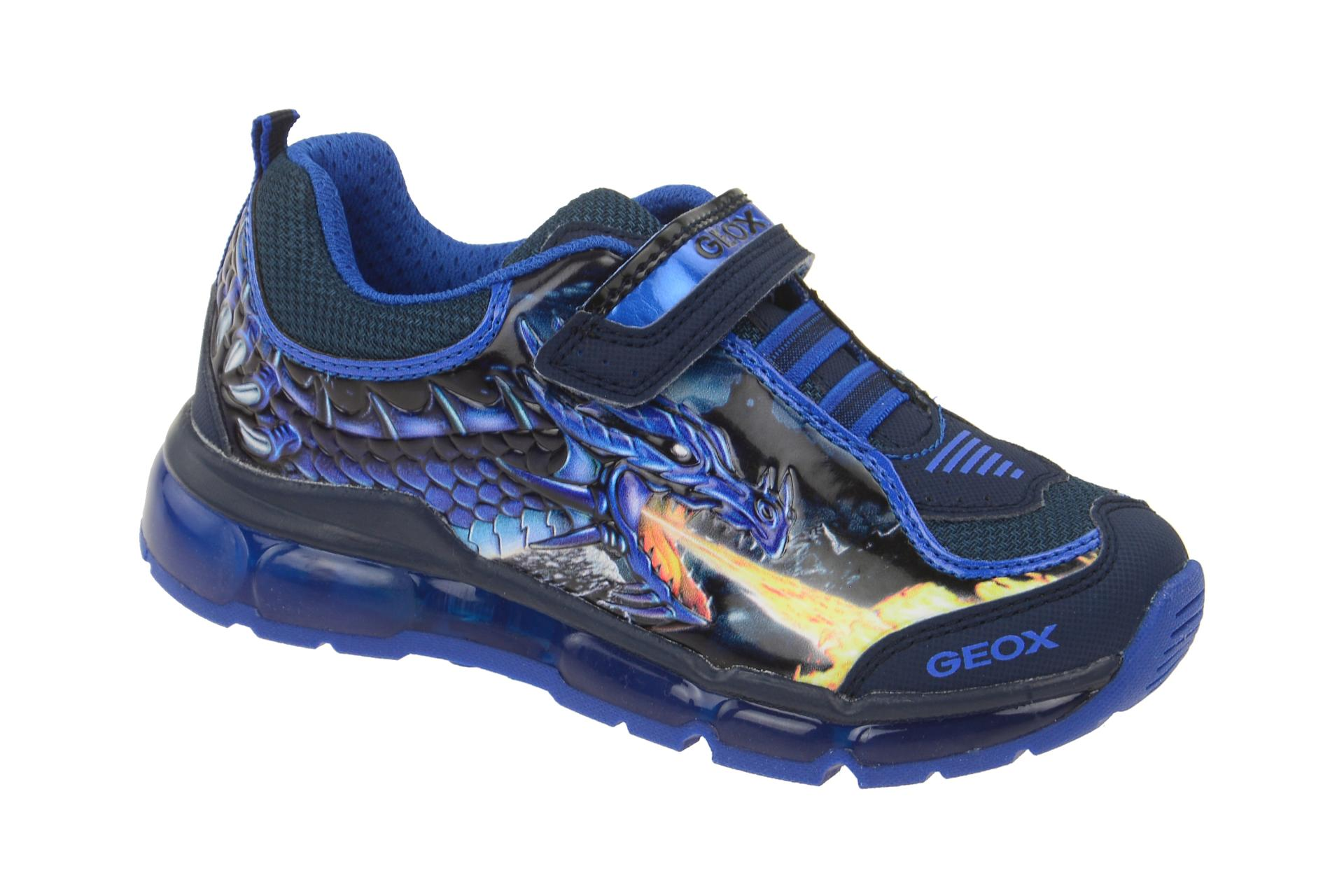 Geox Android Schuhe blau Drachen Blinker J6444A