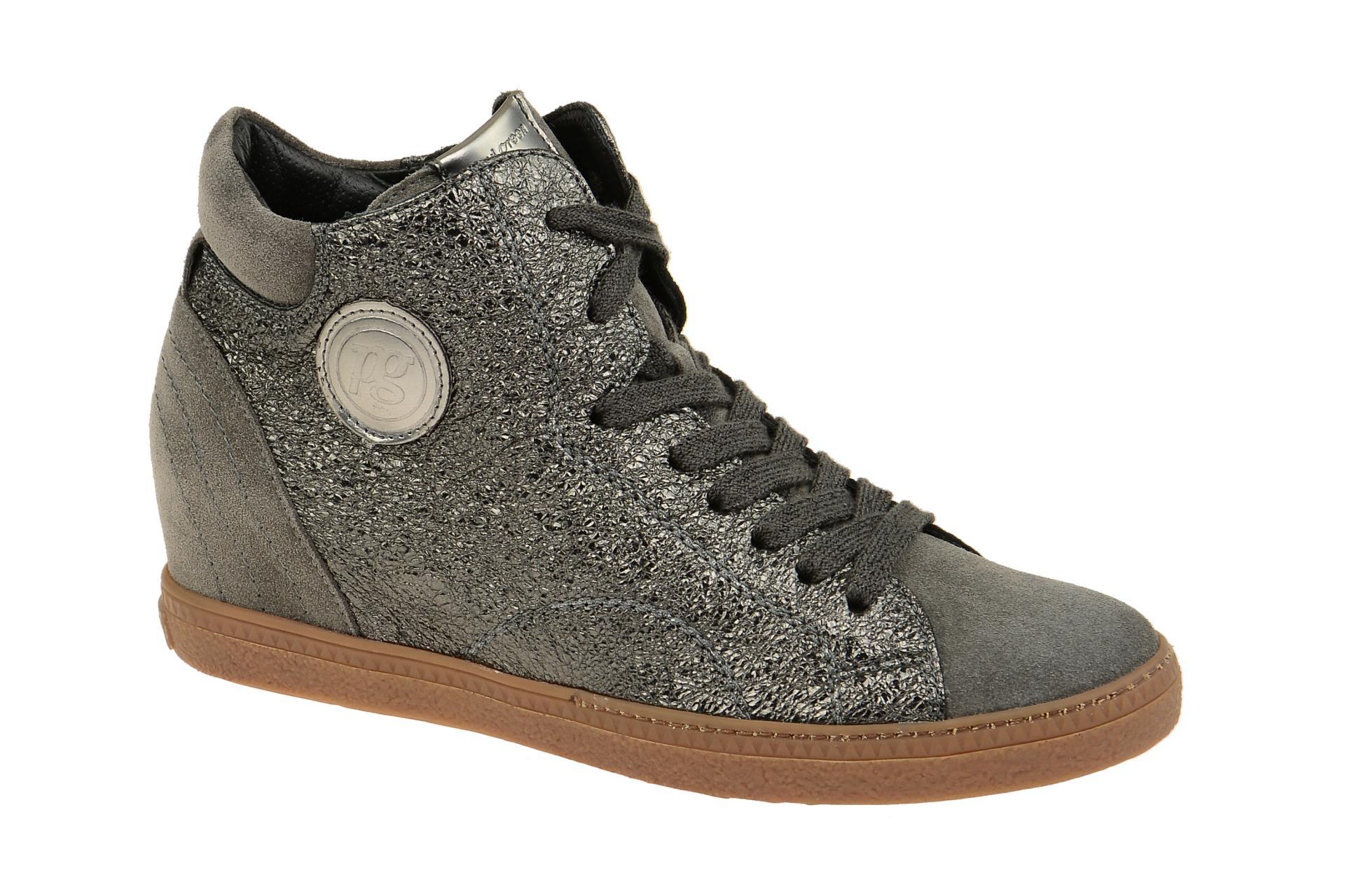d89c8eaf355e Paul Green Keil Stiefelette grau Glitter 1401 - Schuhhaus Strauch Shop