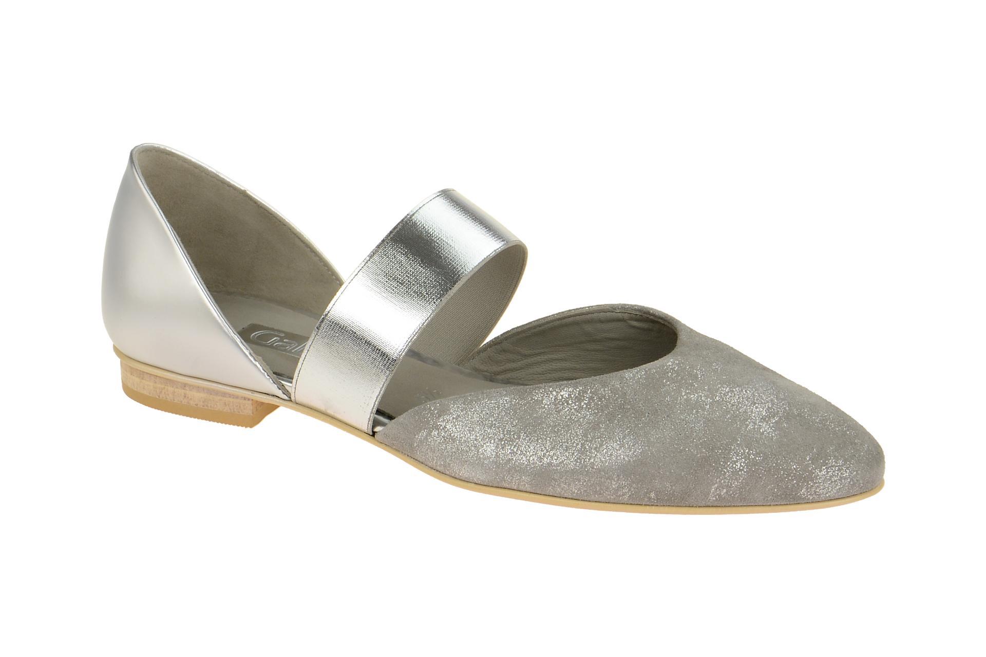 gabor ballerina grau silber metallic gr 39 schuhhaus. Black Bedroom Furniture Sets. Home Design Ideas