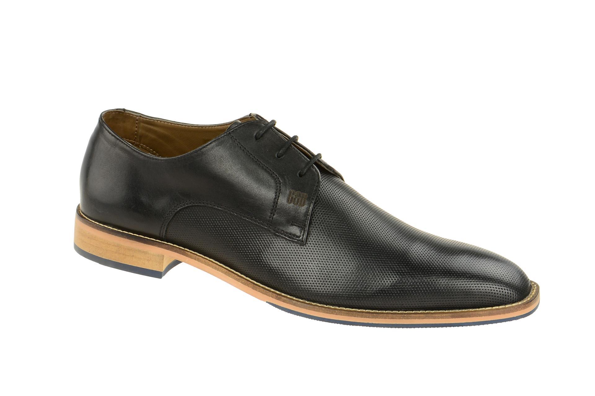 Herrenschuhe - Elegante Halbschuhe - Schnürschuhe Lorenzo S500311 Black-Antik Schwarz, EU 44 Gordon & Bros