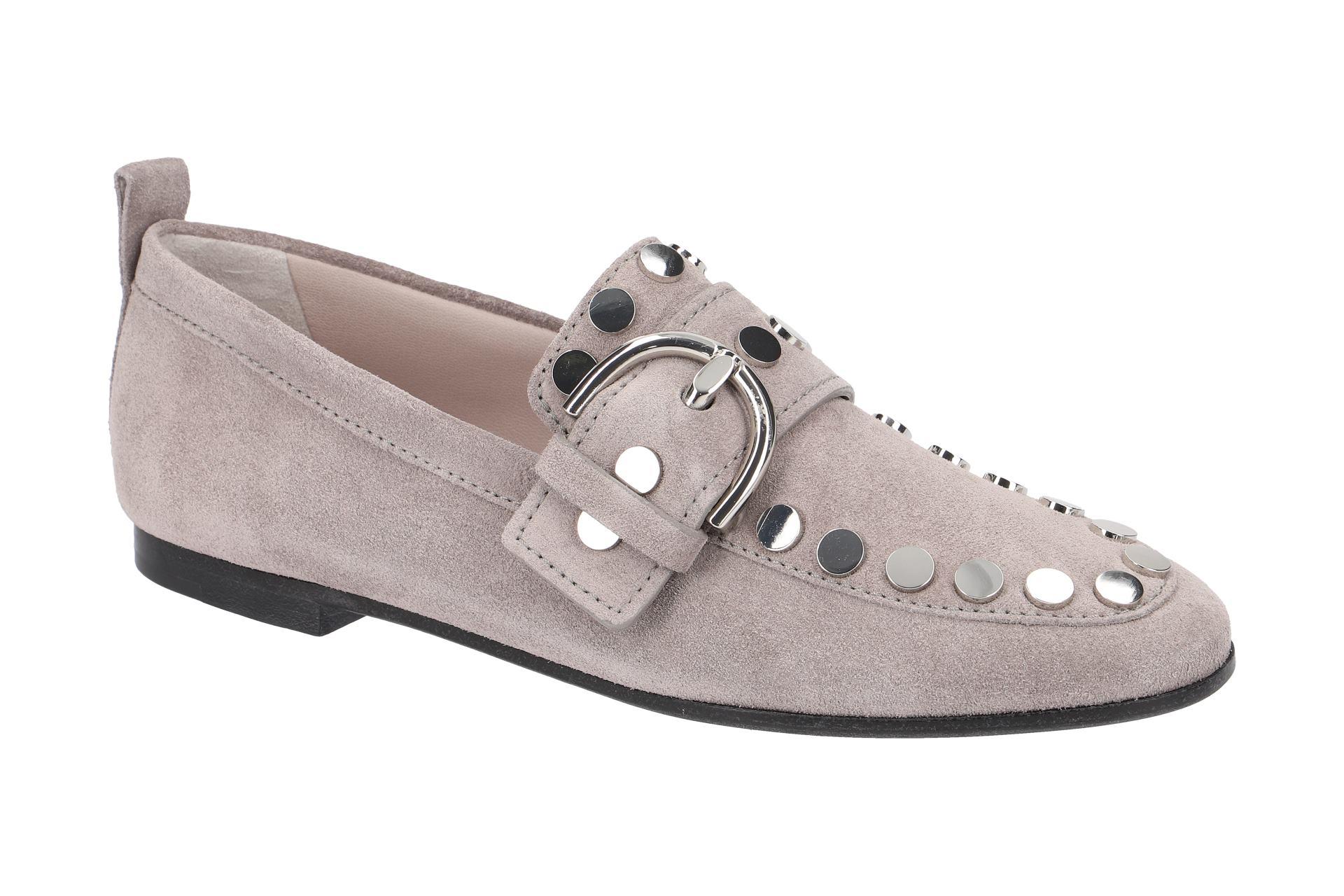 7481266e0dc73f K S Tara Slipper Schuhe grau Nieten - Schuhhaus Strauch Shop