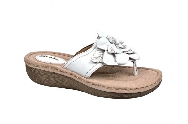 Clarks Pantolette Amaya Iris 6 in weiß Zehentrenner 20354106