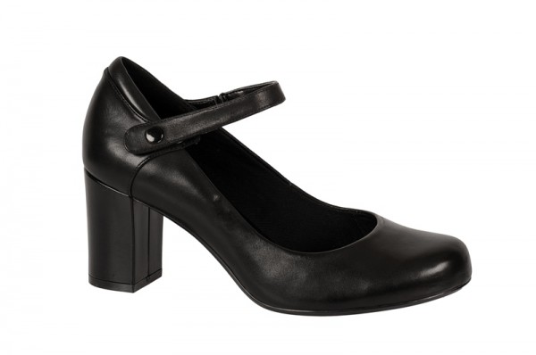 Clarks Deva Dolly Riemchen Pumps in schwarz Glattleder