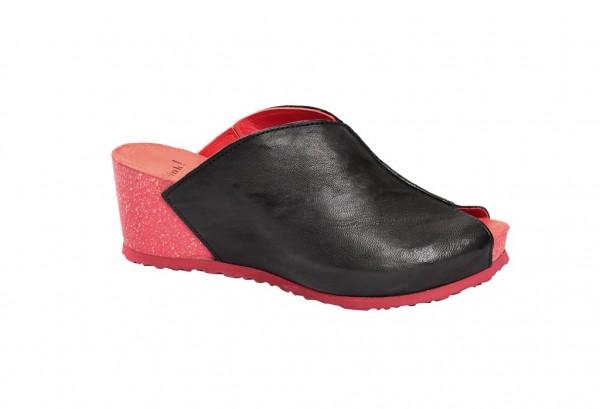Think Zilli Keil- Pantolette in schwarz rot 0-80329-09