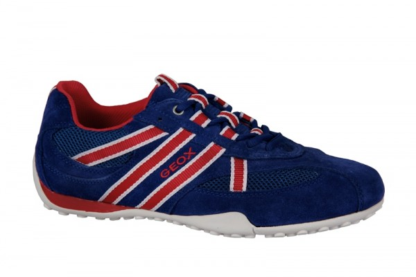 Geox Snake S Schuhe blau rot Velour Sneakers