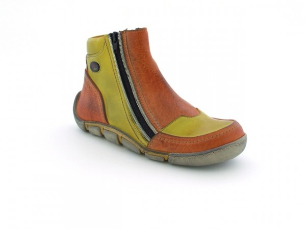 Eject Flight Stiefelette in orange gelb mit Lederfutter E-11661